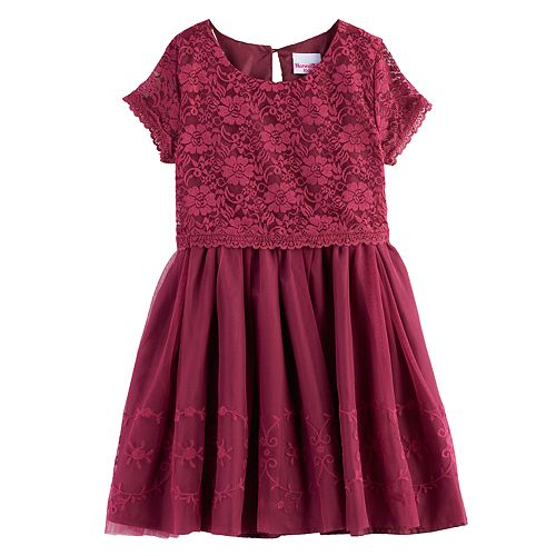 Girls 4-6x Nannette Lace Mock-Layer Short Sleeved Dress