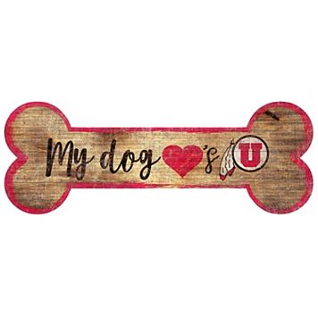Utah Utes Dog Bone Wall Sign