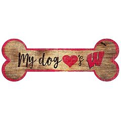 Wisconsin Badgers Dog Bone Wall Sign