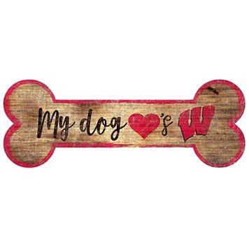 Wisconsin Badgers Dog Bone Wall Sign