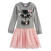 Girls 4-6x Nannette Kitty Cat Mock-Layer Sweater Dress