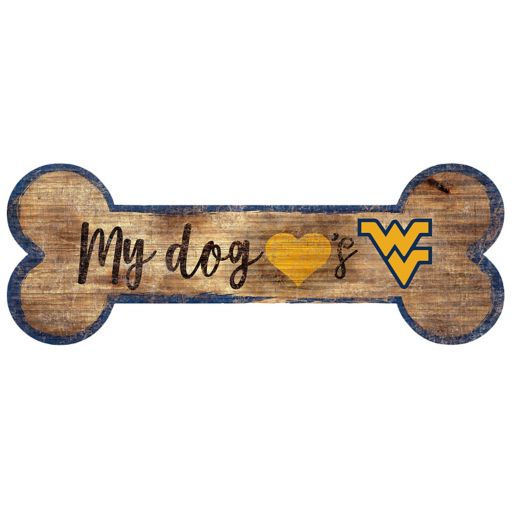West Virginia Mountaineers Dog Bone Wall Sign