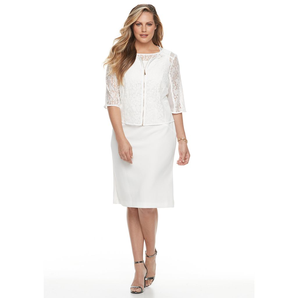 Plus Size Maya Brooke Sheath Dress & Lace Jacket Set
