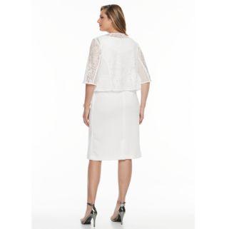 Plus Size Maya Brooke Sheath Dress & Lace Jacket Set