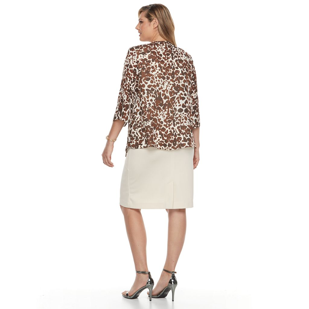 Plus Size Maya Brooke Solid Dress & Animal Jacket Set