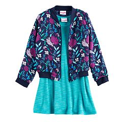 Girls 4-6x Nannette Floral Bomber Jacket & Skater Dress Set