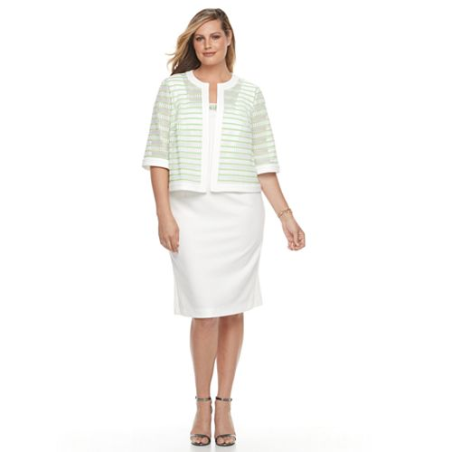 bd8b32d00bd Plus Size Maya Brooke Embellished Sheath Dress   Striped Jacket Set