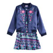 Girls 4-6x Nannette Embroidered Bomber Jacket & Printed Skater Dress Set