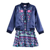 Girls 4-6x Nannette Embroidered Bomber Jacket & Printed Skater Dress Set