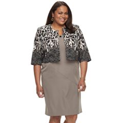 Plus Size Maya Brooke Solid Sheath Dress & Animal Print Jacket Set