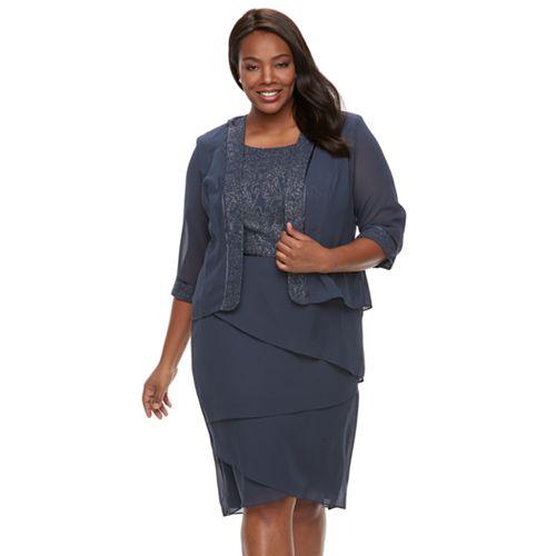 46e64086db017 Plus Size Le Bos Lace-Trim Jacket   Tiered Dress