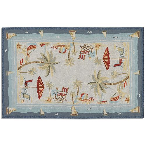 Couristan Outdoor Escape Pacific Heights Framed Beach Indoor Outdoor Rug