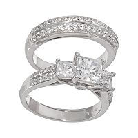 DiamonLuxe Sterling Silver 2 1/4 ctT.W. Simulated Diamond 3-Stone Ring Set