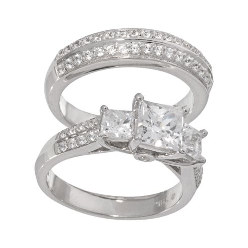 DiamonLuxe Sterling Silver 2 1/4-ct. T.W. Simulated Diamond 3-Stone Ring Set