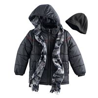 Toddler Boy I-Extreme 3-pc. Colorblock Puffer Jacket, Camouflaged Hat & Scarf Set