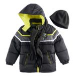 Toddler Boy I-Extreme 3 pc Colorblock Puffer Jacket, Hat & Scarf Set