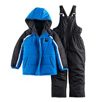 Toddler Boy I-Extreme Blue Winter Jacket & Bib Overall Snow Pants Set