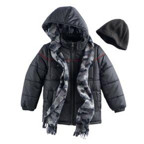 Boys 4-7 I-Extreme 3-pc. Colorblock Puffer Jacket, Camouflaged Hat & Scarf Set