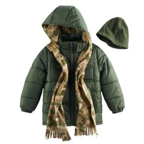 Boys 4-7 I-Extreme 3-pc. Colorblock Puffer Jacket, Camouflaged Hat & Scarf Set