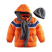 Boys 4-7 I-Extreme 3-pc. Colorblock Puffer Jacket, Hat & Scarf Set