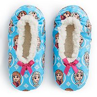 Disney's Frozen Anna & Elsa Girls 4-16 Fuzzy Babba Slippers