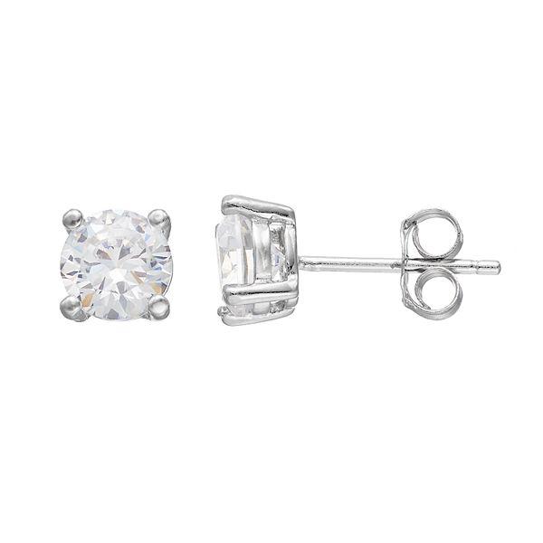 PRIMROSE Sterling Silver Cubic Zirconia Stud Earrings - Sterling