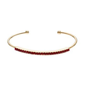 Red Simulated Siam Cuff Bracelet