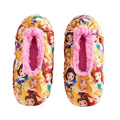 Disney Princess Girls 4-16 Fuzzy Babba Slippers