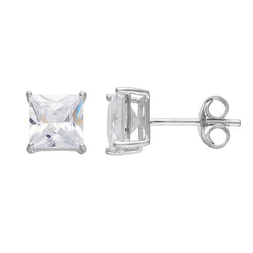 PRIMROSE Sterling Silver Cubic Zirconia  Square Stud Earrings