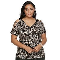 Plus Size Jennifer Lopez Lace-Up Cold-Shoulder Tee