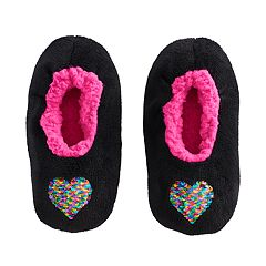 Girls 4-16 Reversible Sequin Fuzzy Babba Slippers