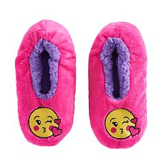Girls 4-16 Kiss Icon Face Patch Fuzzy Babba Slippers