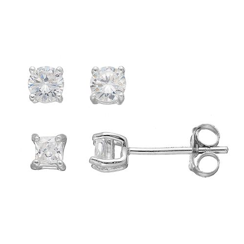 PRIMROSE Sterling Silver Cubic Zirconia Square & Round Stud Earring Set