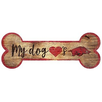 Arkansas Razorbacks Dog Bone Wall Sign