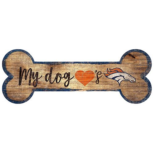 Denver Broncos Dog Bone Wall Sign