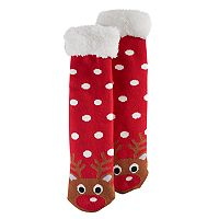 Girls 4-16 Sherpa-Lined Reindeer Cozy Warmer Slipper Socks