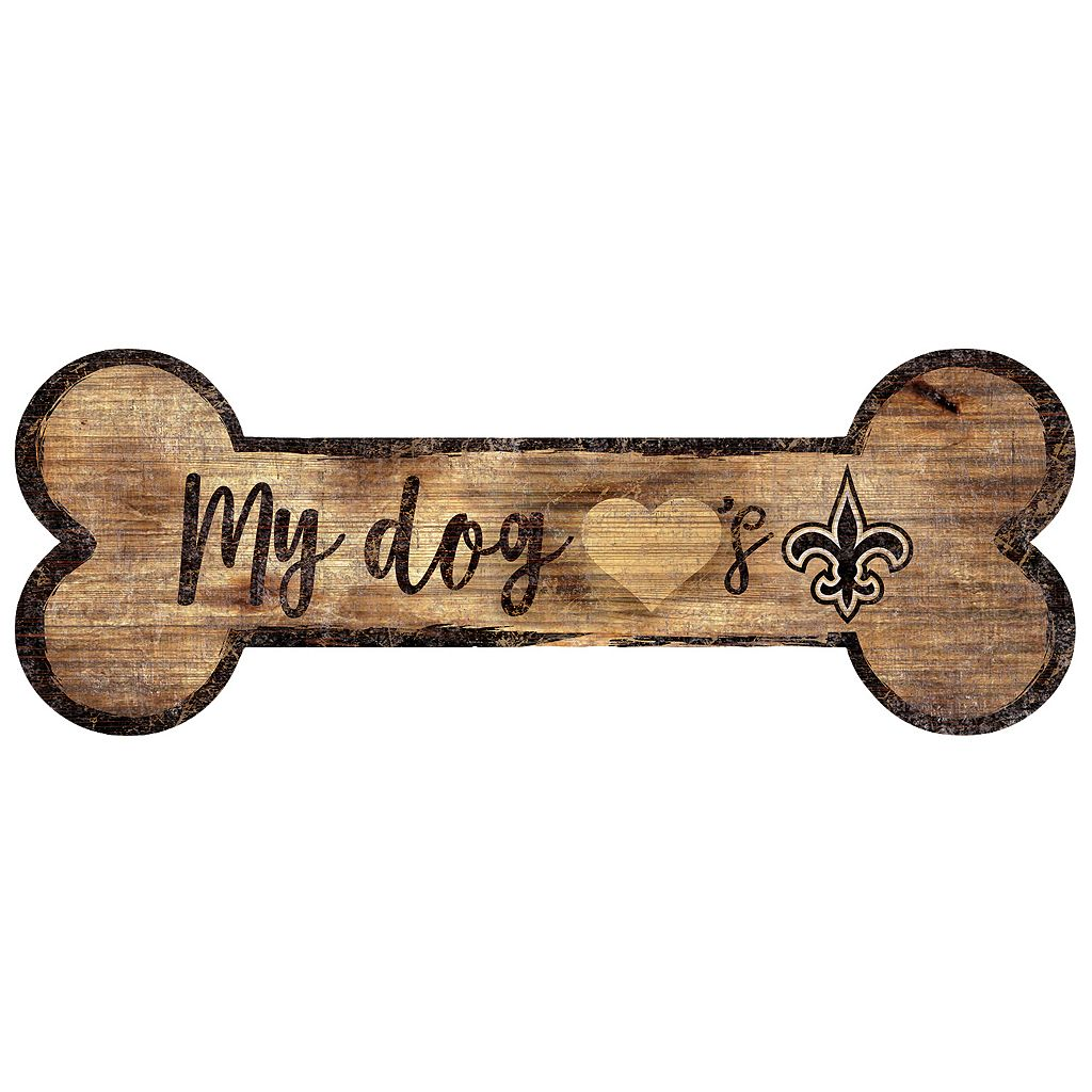 New Orleans Saints Dog Bone Wall Sign