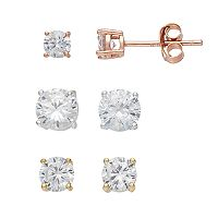 PRIMROSE Tri-Tone Sterling Silver Cubic Zirconia Stud Earring Set