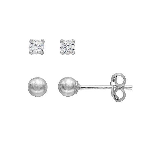 PRIMROSE Sterling Silver Cubic Zirconia Ball Stud Earring Set