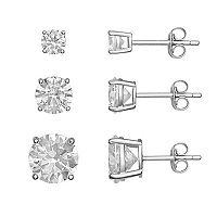 PRIMROSE Sterling Silver Cubic Zirconia Stud Earring Set