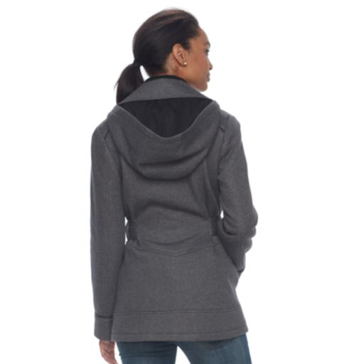 Women's d.e.t.a.i.l.s Double Breasted Faux-Leather Trim Fleece Jacket