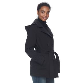 Women's d.e.t.a.i.l.s Double Breasted Faux-Leather Trim Fleece Jacket