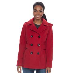 Women's d.e.t.a.i.l.s Hooded Double Breasted Faux-Wool Peacoat