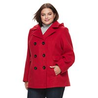Plus Size d.e.t.a.i.l.s Faux-Wool Double Breasted Peacoat
