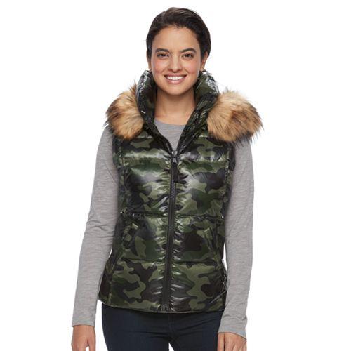 Women's S13 Snowcast Hooded Faux-Fur Trim Down-Fill Vest