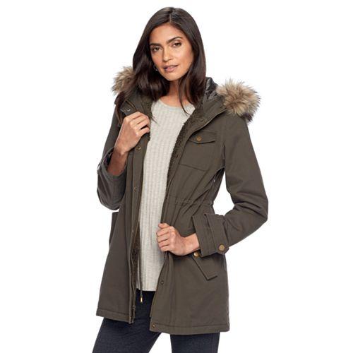 Apt. 9® Hooded Faux-Fur Trim Cotton Parka