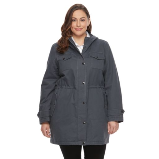 Plus Size Apt. 9® Hooded Faux-Fur Trim Cotton Parka