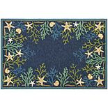 Couristan Outdoor Escape Sea Water Coral Shell Indoor Outdoor Rug