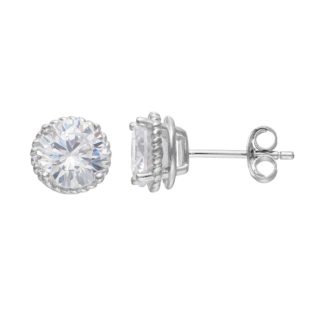 PRIMROSE Sterling Silver Cubic Zirconia Textured Stud Earrings