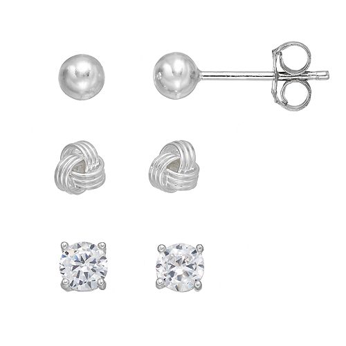 PRIMROSE Sterling Silver Cubic Zirconia Love Knot & Ball Stud Earring Set